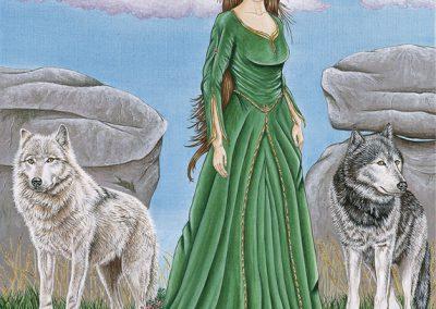 femme et duo de loups peinture