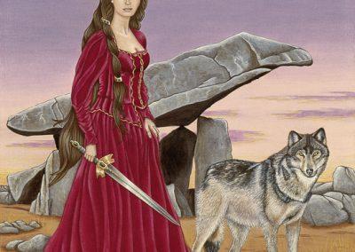 femme à l'épée et loup