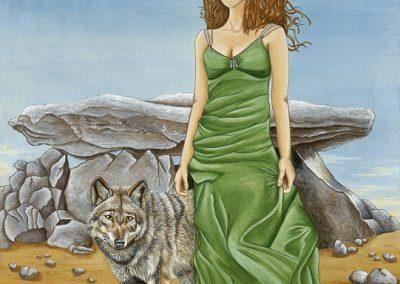 femme et loup devant un dolmen