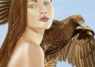 portrait de femme et aigle