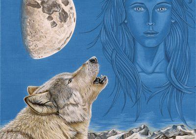 femme et loup qui chante à la lune