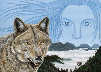 regard de femme et loup
