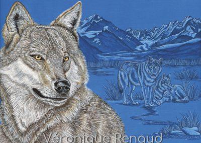 trois loups et montagnes